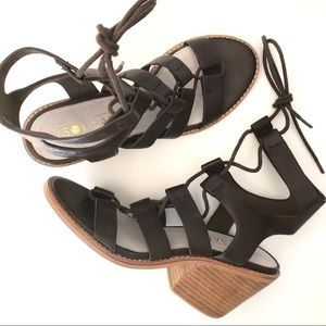 Sol Sana Rudey Leather Lace Up Ankle Sandals